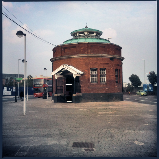north entrance to Woolwich foot tunnel